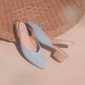 【Fair Lady】Hi Spring V型素面拉帶尖頭低跟涼鞋 牛仔藍