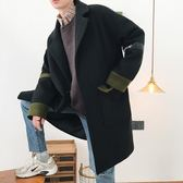 秋冬季風衣男中長款韓版潮流寬鬆男士毛呢大衣青年帥氣呢子外套男