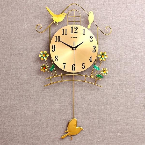 夜光鐘表掛鐘客廳個性創意簡約靜音臥室家用大氣現代時尚小鳥時鐘【全館免運】
