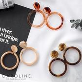 《Caroline》★韓國熱賣復古玳瑁紋幾何圈形甜美浪漫風格時尚流行耳環70032