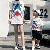 親子裝新品夏裝短袖母子裝一家三口裝全家裝卡通鯊魚家庭裝潮T恤 月光節85折