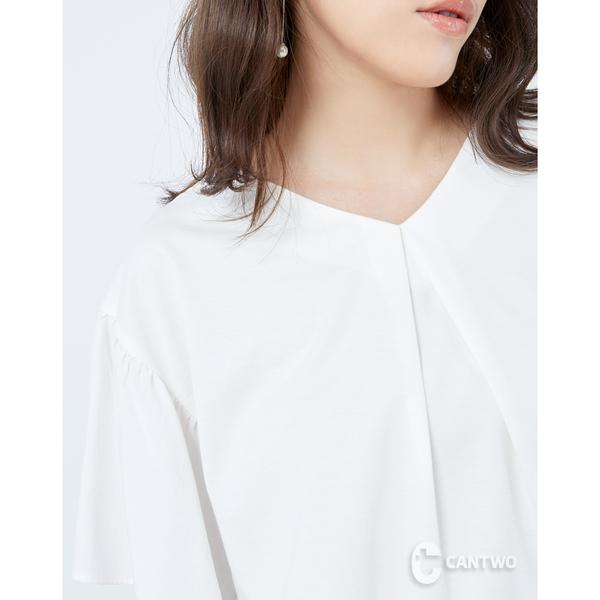 CANTWO質感純色拼接寬版上衣-二色~春夏新品單一特價