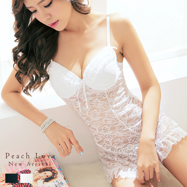 睡衣 滾邊美胸睡裙+丁字褲(白)-睡裙-性感睡衣、居家服_蜜桃洋房