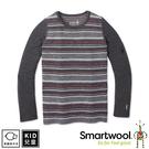 【SmartWool 美國 孩童NTS 250印花長袖衫《炭灰/紅》】SW016122/長袖衛生衣/內層衣