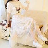【GZ2B1】小清新甜美時尚套裝森女小鹿T恤配刺繡網紗半身裙兩件套長裙