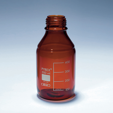《PYREX》茶色廣口血清試藥瓶 Amber Bottle, Media, Screw Cap, GL45 PP Cap