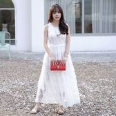 洋裝-無袖白色蕾絲繡花圓領女連身裙73nj51[巴黎精品]