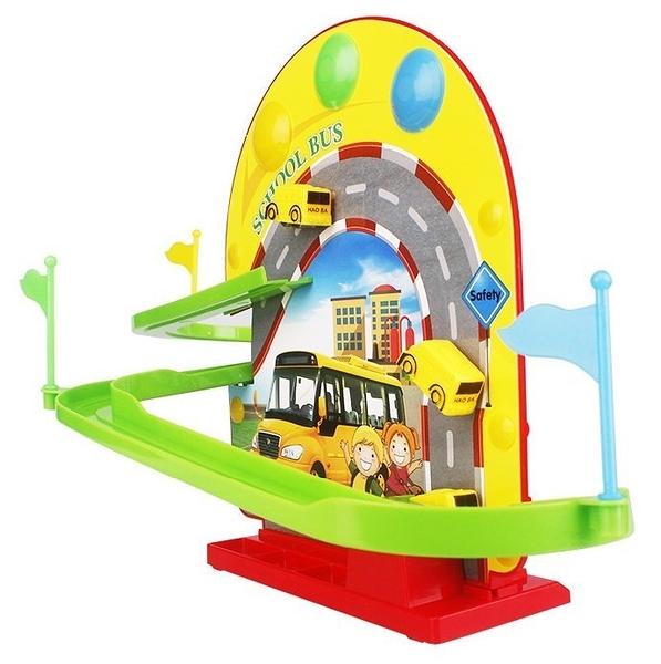 *幼之圓*兒童歡樂校車巴士軌道組~ 電動磁力軌道旋轉滑梯~ 帶音樂燈光~小男生最愛的軌道玩具~