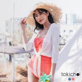 東京著衣-tokichoi-純色側邊抓皺細肩連身泳衣-S.M.L(190396)