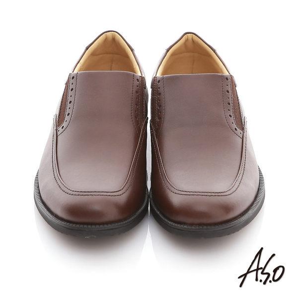 A.S.O 頂級氣墊 全真皮寬楦縫線直套式紳士鞋 咖啡色