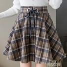 百褶裙女 季新款復古格子毛呢高腰半身裙女裙百褶A字短裙子厚 快速出貨