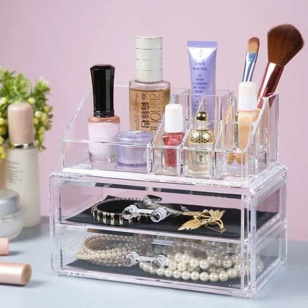 收納盒《YoStyle》唯美二抽化妝收納盒 置物盒 文具盒 珠寶盒 飾品盒 化妝品 美妝 保養品