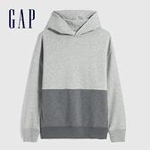 Gap男裝 時尚撞色連帽休閒上衣 627530-淺灰色