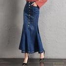大碼牛仔魚尾裙半身裙顯瘦中長款韓國包臀高...