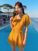 溫泉泳裝保守連體游泳衣女遮肚顯瘦裙式仙女范超仙ins風泡溫泉少女系泳裝  雲朵 上新