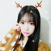 【BlueCat】聖誕節麂皮小鹿角裝飾髮夾(一對裝)