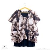 【INI】透氣輕盈、特殊拼接雪紡假兩件上衣.咖啡色