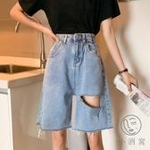 破洞牛仔短褲女寬鬆高腰直筒五分闊腿褲【小酒窩服飾】