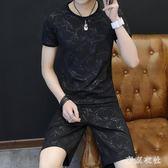 冰絲T恤潮流夏天短袖短褲兩件套夏季新款男裝夏裝休閒套裝 QQ30231『東京衣社』