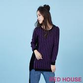 RED HOUSE-蕾赫斯-千鳥格拉鍊拼接針織衫(共二色)