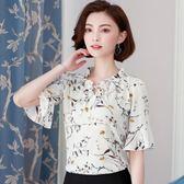 中年女裝夏裝短袖T恤女大碼寬鬆碎花雪紡打底衫30-40歲媽媽上衣服 良品鋪子
