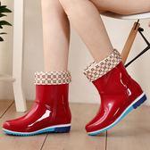 雨鞋女防水鞋女士加絨防滑筒水鞋【奇趣小屋】