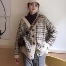 "ZUCA""S - 復古格子長袖針織毛衣外套 - T-103"
