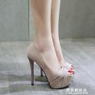 14CM超高跟鞋細跟魚嘴鞋防水台性感淺口單鞋女小碼2020春秋季新款 果果輕時尚