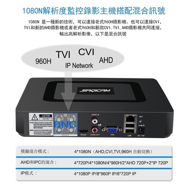 Saqicam AHD 1080P 4路 監視器主機 監控DVR CVI TVI IP 類比適用 手機監看 移動偵測