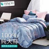 【BELLE VIE】40支純天絲雙人加大床包兩用被四件組-葉暖 藍