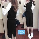 【V2980】shiny藍格子-美姿自主‧黑白拼接長袖上衣包臀中長裙套裝