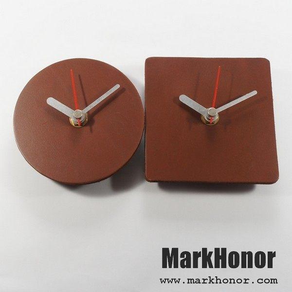 情侶 簡約風格-圓型/方型 100%真皮 皮革 對鐘 桌鐘 靜音 時鐘 咖啡 10公分-Mark Honor