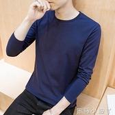 2020男士長袖t恤春裝純棉上衣服純色打底衫白黑體桖潮流韓版衛生衣 蘿莉小腳丫