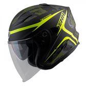 【東門城】THH T560S 迷彩線條 平光黑/螢光黃 快拆式鏡片 雙D扣 內襯全可拆洗 四分之三罩安全帽