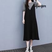 洋裝連身裙中大尺碼M-4XL格子拼接假兩件裙子夏天中長款泡泡袖大碼連身裙4F101-9853.胖妹大碼