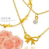 Justin金緻品 結婚花嫁 永結同心 黃金手鍊&項鍊套組 結婚金飾 9999純金 金手鍊 蝴蝶結 甜蜜(白鑽)