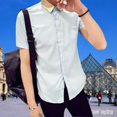 大尺碼短袖襯衫男士夏季薄款純色韓版修身休閒半袖襯衣潮男裝 QG22046『Bad boy時尚』