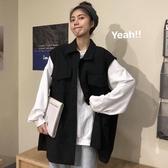 秋季韓版寬鬆bf中長款黑色坎肩外穿工裝背心牛仔馬甲外套女學生潮 米娜小鋪