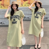 韓國孕婦夏裝2020新款純棉連身裙衣裙中長款大碼潮媽夏季休閑網紅T恤裙子洋裝【居享優品】