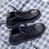 马丁靴  皮鞋 夏季新款馬丁靴男英倫韓版潮流百搭中幫鞋子男防水青少年學生皮鞋