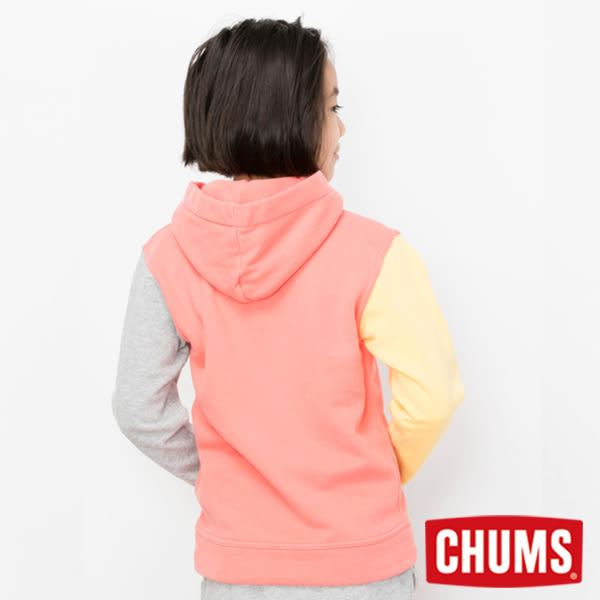 CHUMS 日本 童 LOGO 兜帽套頭衫 彩拼紅 CH201020C011