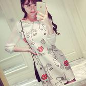 韓版女裝時尚拼接大碼針織長袖打底連身裙【韓衣舍】
