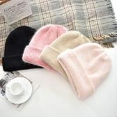 毛帽-簡約純色復古兔毛男女針織帽8色73ug15[巴黎精品】