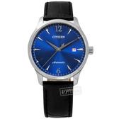 CITIZEN 星辰表 / NJ0110-18L / 限量款 機械錶 自動上鍊 日期顯示 日本機芯 小牛皮壓紋手錶 藍x黑 40mm