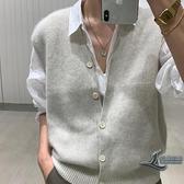 羊毛馬甲V領開衫背心外套女士針織衫馬夾坎肩【邻家小鎮】