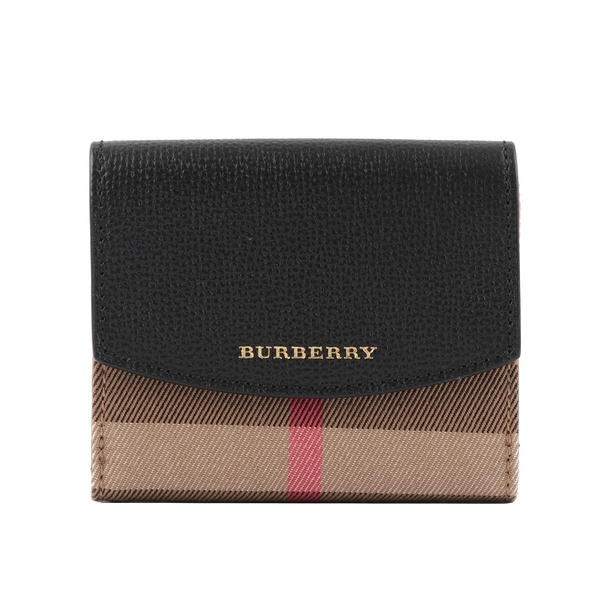 【BURBERRY】HOUSE格紋拚皮革三折短夾(黑色) 80278821