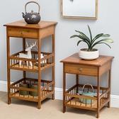 客廳沙發邊柜角幾簡約小茶幾茶臺臥室床頭柜收納方桌邊角置物架子 果果輕時尚