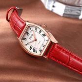 新款時尚酒桶方形皮帶女士手錶女錶學生韓版簡約潮流休閒大氣 草莓妞妞
