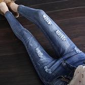 窄管褲 韓版秋季牛仔褲女 九分破洞修身彈力顯瘦刺繡小腳鉛筆褲學生  店慶降價