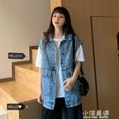 工裝復古牛仔馬甲女寬鬆2020年新款秋季韓版潮流無袖馬夾背心外套『艾麗花園』